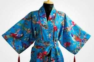 Indian Turquoise Bird Women's Dressing Sleepwear Bath Robes Kimono Maxi Gown