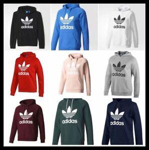 Adidas Originals Men Trefoil Big Logo Fleece Hoodie Hooded Sweatshirt