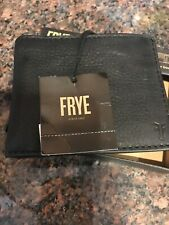 FRYE Black Leather Bookfold Leather Card Wallet Mens Black New In Box