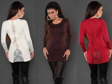 Maxipull miniabito donna vestito maxi maglia fiocchi abito maglione pullover