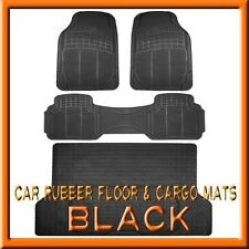 Fits 3PC Santa Fe Premium Black Rubber Floor Mats & 1PC Cargo Trunk Liner mat