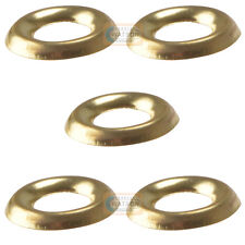 Pack 5 - No.12 Brass Screw Cup Washer Turned Pattern Socket Cabinet Furniture