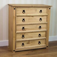 Corona 5 Drawer Chest Furniture Mexican Solid Pine Wood Waxed Rustic Finish