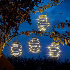 4 PC Hanging Solar Beehive Spiral LED Lantern Lights Garden Spiralite Outdoor