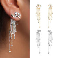 Women Crystal Rhinestone Star Long Tassel Drop Dangle Stud Earrings Jewelry Gift