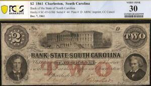 1861 $2 DOLLAR SERIAL # 44 SOUTH CAROLINA BANK NOTE LARGE PAPER MONEY PCGS 30
