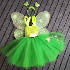 Girls Tinkerbell Disney Fairy Pixie Fancy Dress Kids Costume Cosplay Outfit set