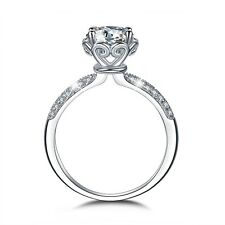 18k white gold gp engagement wedding ring Simulated Diamond valentine's day gift