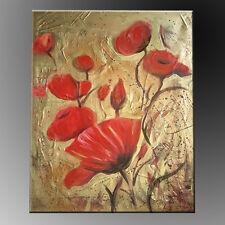QUADRI MODERNI ASTRATTI painting DIPINTI A MANO OLIO SU TELA PAPAVERI oro rosso