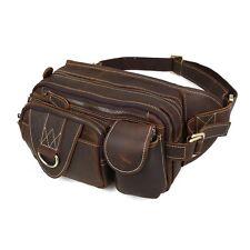 Tiding Herren Echtes Leder Hüfttasche Wandern Reisetasche Brusttasche Braun