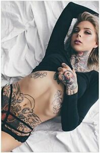 Beautiful  Sexy Girl with Tattoos - Photo Posters - Man Cave Art