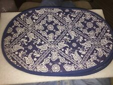 7 NICE NEW BLUE PATTERN AND SOLID BLUE BACK PLACEMATS