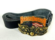 "Vintage 1991 Baron Brass Harley Davidson Belt M 32""-34"" Buckle Made In USA"