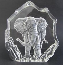 Elephant  3-D Art Glass Crystal Block Sculpture - Clear - Boxed