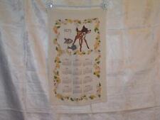 Walt Disney Productions Bambi and Thumper 1975 Calendar Tea Towel