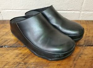 FitFlop Clog Women Size 10 Black Leather Mule Fitness Shoe