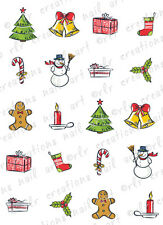 20 CHRISTMAS NAIL DECALS * CHRISTMAS DOODLES ASST*  WATER SLIDE NAIL DECALS