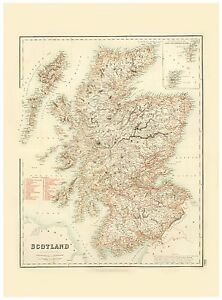 Old Vintage Decorative Map of Scotland Fullarton 1872