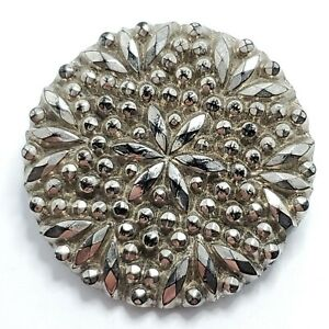 Antique Glass Victorian Lacy Metal Shank Black Silver Button