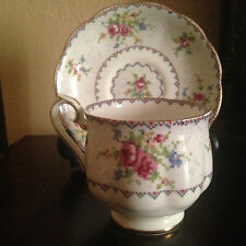Royal Albert  Petit Point bone china cup and saucer with dainty floral bouquets