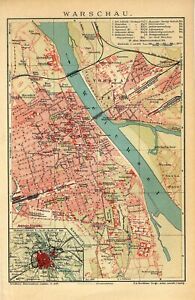 1907 POLAND WARSAW CITY PLAN Antique Map dated
