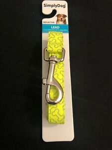 Simply Dog Fluro Yellow Reflective Lead 1.5m For Dogs up to 22kg