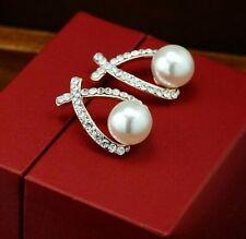 UK STORE* Pearl SILVER Earrings Crystal Drop Cubic Zirconia Stud Cluster Bridal