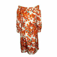 NWT Tommy Bahama Gathered Silk Floral Dress Size Small Orange Red Blue Shift