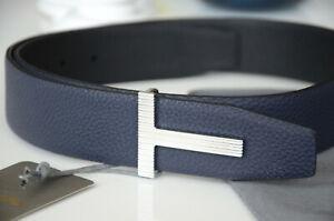 TOM FORD T Reversible NAVY BLUE / BLACK ICON Belt SILVER STRIPE Buckle 80 / 32