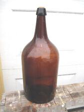 Antique amber Glass Demijohn Bottle Car Boy 15-1/4  tall  cross bass 6 inch wide