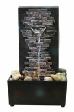 Brick Wall Indoor LED Relaxation Cascading Water Fountain with River Rocks Decor