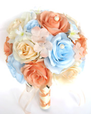 17 piece package Wedding Bouquets Bridal Silk Flowers PEACH Light BLUE BLUSH set
