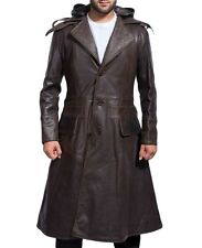 Assassin's Creed Jacob Frye réel Veste cuir BROWN long Trench Capuche Manteau