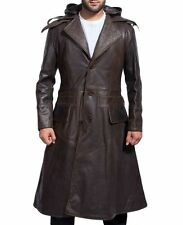 Assassin's Creed Jacob Frye Real Leather Jacket Brown Long Trench Hoodie Coat