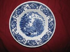 "blue transferware vintage ROYAL TUDOR WARE rim soup pasta plate 9"" OLDE ENGLAND"