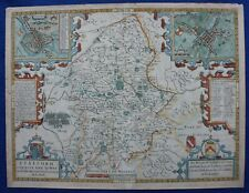 STAFFORDSHIRE, STAFFORD, LICHFIELD, original antique atlas map, John Speed, 1676