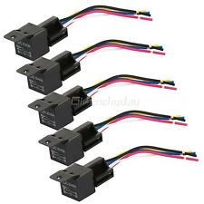 5Pcs 12V Car SPDT Automotive Relay DC 5 Pin 5 Wires W/ Harness Socket 40/30 Amp