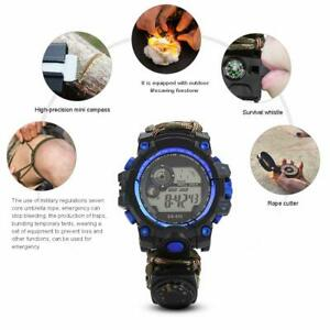 Outdoor Survival Uhr Armband Feuerstein Feuerstarter Kompass Paracord Pfeife