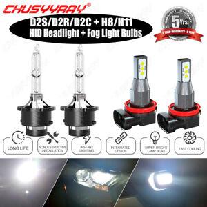 For Acura TL 2009 2010-2014 4PCS Front LED HID Headlights Hi/Lo Fog Light Bulbs