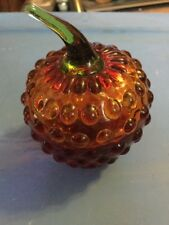 UNMARKED GLASS PAPERWEIGHT RAISED BUBBLE APPLE STEM