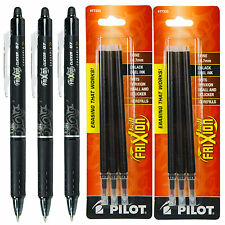Pilot Frixion Clicker Erasable Black Gel Ink Pens 3 Pens With 2 Pk Of Refill
