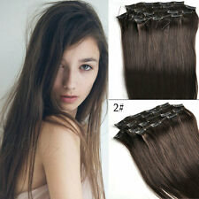 24''26''28''30'' full head set,clip in remy hair extensions BLACK BROWN BLONDE