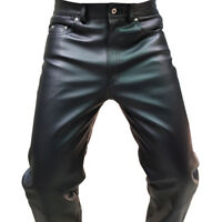GENUINE HANDMADE LEATHER MENS PANTS LUXURY TROUSER JEANS SLANT ZIP BLUF CLUB 3FN