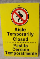 Lot of 2 Yellow Plastic Aisle Temporarily Closed Store Signs