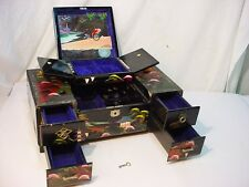 Vtg Lg Japanese Lacquer Black Jewelry Box Key Music Box Drawers Mirror Tassels