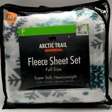 Full Fleece Sheet Set Soft Snowflake Arctic Trail New