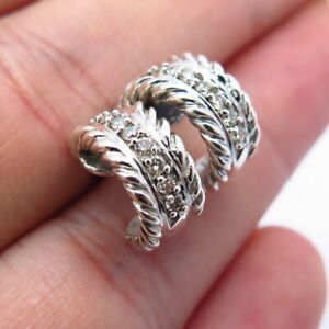David Yurman 925 Sterling Silver & 750/18K Gold Diamond Hoop Earrings