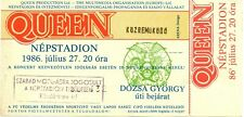 Unique un-used contributor ticket: QUEEN Nepstadion Budapest Hungary 1986