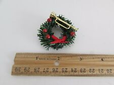 Dollhouse Miniature - Wreath with Red Bow, Red Balls and Gold Horn