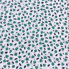 Retro Cotton Sewing Craft Fabric Material Green Navy Blue Floral Dressmaking